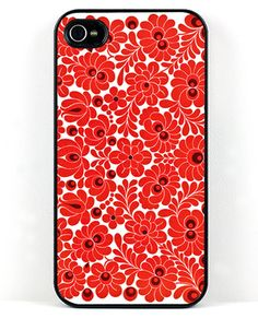 Modern Red Floral Iphone Case
