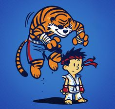 justinrampage:    Calvin and Hobbes have been training hard for their new Street Fighter adventure. Winter Artwork's awesome mash up shirt design is on sale Tuesday August 7, 2012 only at TeeFury for $10. TIGER UPPERCUT!  Tiger byWinter Artwork (RedBubble) (Flickr) (Facebook) (Twitter)    calvin y hobbes a la street fighter 2…