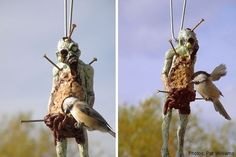 Zombie Bird Feeder - Show your affinity for the zombie culture with this hangable bird feeder, with protruding nails that can be used as perches. Also doubles as an awesome Christmas ornament!