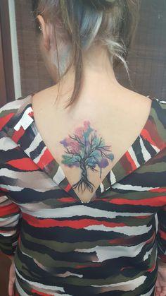 Watercolour tree tattoo