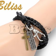 22cm Vintage Men Jewelry Black Leather Bracelet with Cross
