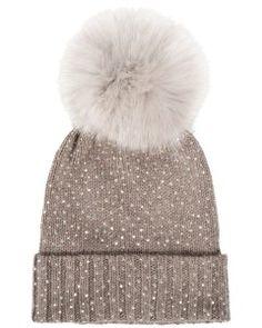 Regina - Mütze mit Pelzbommel und Strassteinchen