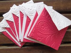 Blank Mini Embossed Card Set of 8 / Note Card Set/ Thank You Cards/ Stationery Card Set/ Mini Card Set/ Wedding favor tags/ Lunch Box Notes