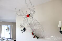 Can you believe this deer head was HANDMADE out of Chicken wire for Free? So cool!
