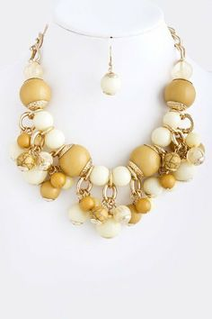 """Mustard Ornament Gold Statement Necklace Comes with Matching Earrings - Lead Compliant StarShine Jewelry. $19.50. Length approx 20"""". Comes with matching earrings. Lead and nickel safe. Lobster claw clasp with 3"""" extender"""