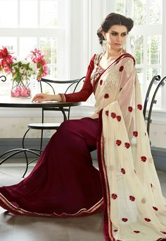 Cream and Burgundy Faux Georgette and Faux Chiffon Saree with Blouse @62.50