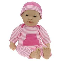 """JC Toys La Baby Asian 16"""" Washable Soft Body Play Doll Designed by Berenguer - Pink"""