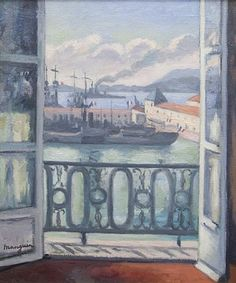Henri Charles Manguin - French Impressionist - View from the Terrace, circa Matisse, Cara Fresca, Abstract Canvas, Canvas Art, Art Fauvisme, Raoul Dufy, Seascape Paintings, Renaissance Art, Light Painting