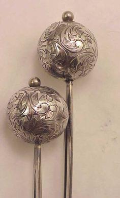 Antique Japanese Engraved Sterling tama