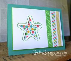 Hello star card from the STampin Up you're so sweet stamp set . card making. cut out, window card