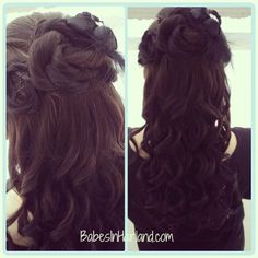 Half updo for Sweetheart's Ball from BabesInHairland.com #updo #curls #longhair #twists