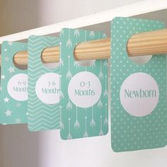 Sea Foam Mint Green Closet Dividers AND drawer labels for Nursery/Baby Room – Printable With this purchase you'll receive a PDF & INSTANT DOWNLOAD file of the closet dividers. This is an INSTANT DOWNLOAD, No physical file will be mailed to you.
