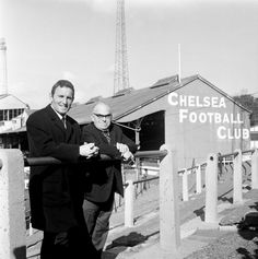 Dave Sexton (left) stands on the Stamford Bridge terraces with Chelsea chairman Charles Pratt having been appointed the club's new manager, The Bridge looks a bit different now. Chelsea Football Club, Uk Football, Football Stadiums, School Football, Football Players, Chelsea Fc, Stamford Bridge, Back In The Day, London