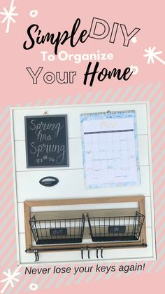 Never lose your keys again! This simple DIY project will keep your home and your family organized. Keep your keys, mail and calendar all in one place! Home Management, Time Management Tips, Home Organisation, Office Organization, Family Command Center, Make Your Own, Make It Yourself, Organized Mom, Family Organizer