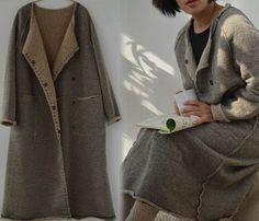 250Wool Cashmere Blend Brown Cardigan Coat Raw Edged Cozy by EDOA