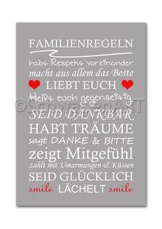 Kunstdruck Familienregeln