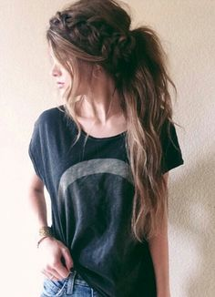 Boho braid/ponytail, hoops and and tee