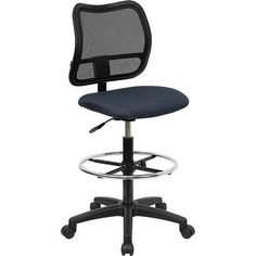 iHome Boswell Mid-Back Navy Blue Mesh Professional Drafting Chair