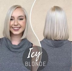 Icy blonde color and long bob