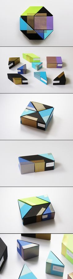 Astrobrights paper tea packaging design series. It's a good method to integrate several flavors into a small space.
