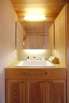 手洗い 鏡 収納 - Google 検索 House In The Woods, Double Vanity, Japan, Google, Japanese, Double Sink Vanity