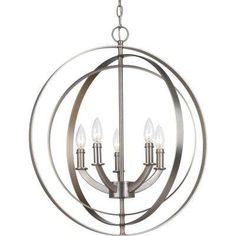 Equinox Collection 5-Light Burnished Silver Foyer Pendant