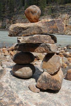 inukshuk at Athabasca Falls II near Jasper, Alberta, Canada summer 2010 by AZBump Canada Summer, Canada Eh, Jasper Alberta, Alberta Canada, Zen Rock Garden, Garden Art, Stone Cairns, Balance Art, Rock Sculpture