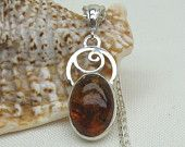 Baltic Amber Necklace - Genuine Amber Jewelry - Pendant - Sterling Silver