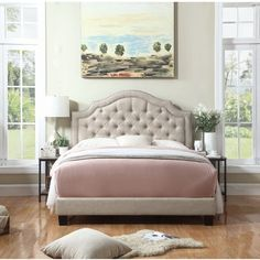 This lovely Julia Upholstered Panel Bed is an essential statement to your bedroom. This bed features diamond tufted upholstery and a bold curved silhouette. It showcases a luxurious and contemporary design offset with deep tufted upholstered buttons with extra foam padding The refined silhouette creates a lavish but effortless feel. This beautiful bed is easy to assemble and made of complete solid wood construction for reinforcement and stability for many years to come. Its piping design…