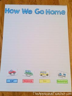 """Graphing how students go home- Make after reading """"This is the Way we Go to School"""". Then, make this chart. Use this as a time to make sure EVERYONE is going home the right way!"""