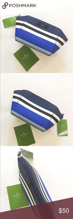 NWT Kate Spade blue striped leather case/bag Brand new with tag. Never used. Beautiful case. 100% leather. Zip closure. Can be used as cosmetics bag. You can put phone, small wallet, keys, cards or small makeup in it. Very beautiful.  ❌no trade ❌no lowballing offers!!! kate spade Bags Cosmetic Bags & Cases