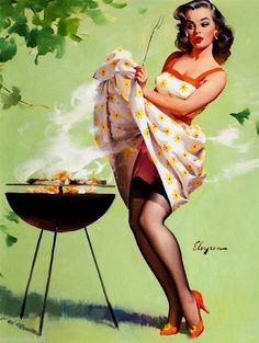 1940s Pin-Up Girl Barbecue Picture Poster Print Art Vintage Pin Up | eBay