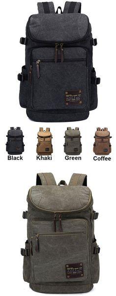 Retro Zipper Men's Canvas Travel Backpack Large Capacity Camping Bag School Laptop Backpack for big sale ! #school #bag #laptop #backpack #rucksack #cute #camping #travel