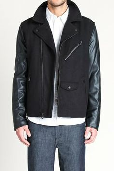 Mixed Media Asymetrical Motorcycle Jacket  w/ Polytwill Lining