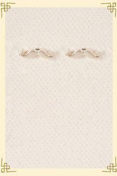 Mustache Studs in Silver