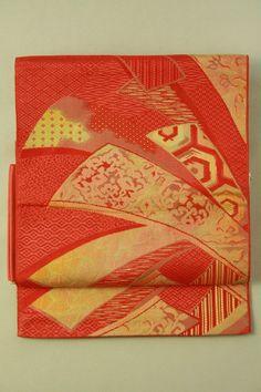 Red Nagoya Obi (Hassun), Weaved Noshi Pattern / 赤地 織りの熨斗柄 化繊八寸名古屋帯   #Kimono #Japan http://www.rakuten.co.jp/aiyama/