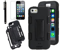 75a10ab83da4b2 iPhone 4s Case iPhone 4 Case KINGCOOL(TM) Three Layer Robot Series Hybrid  High Impact Armor Defender Case Cover with Build in Kickstand(Black and  Black)
