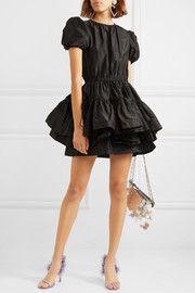 Black silk-taffeta Concealed zip fastening along back silk Dry clean Made in Italy Taffeta Dress, Silk Taffeta, Black Bridal Dresses, Dress Black, Layered Skirt, Fashion Lookbook, Retro Outfits, Black Silk, Miu Miu
