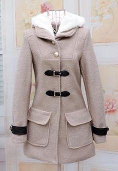 Grey Hooded Long Sleeve Buckle Strap Coat