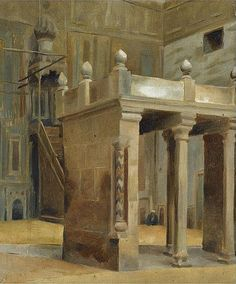 Theodoros Rallis - Interior of a mosque, Cairo A4 Poster, Poster Prints, Name Paintings, Vintage Artwork, Old Master, Cairo, Impressionist, Egypt, Modern Art