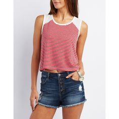 Charlotte Russe Striped Baseball Tee ($12) ❤ liked on Polyvore featuring tops, t-shirts, red combo, baseball tees, red t shirt, baseball t shirt, raglan baseball t shirt and baseball tee shirts