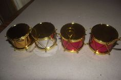 Christmas Tree Ornaments 4 Piece Multi Color Plastic Drum Set Red Gold Silver