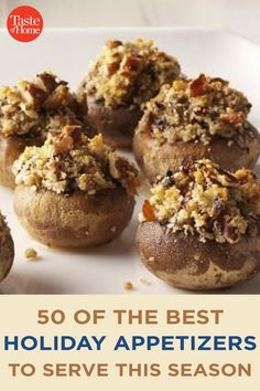 50 of the Best Holiday Appetizers to Serve This Season Best Holiday Appetizers, Holiday Fun, Holiday Recipes, Marinated Olives, Bacon Jam, Holiday Side Dishes, Crab Cakes, Side Dish Recipes, Appetizer Recipes