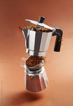 Coffee maker spilling and falling in pieces on brown background. Coffee addiction concept.