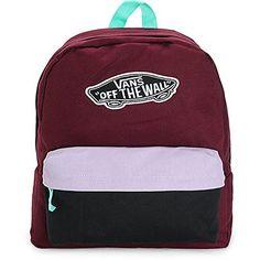 New Vans Realm Burgundy and Lavender Colorblock Backpack Book Travel Gym Bag Vans Backpack, Herschel Backpack, Backpack Bags, Under Armour Headbands, Vans Jacket, Nike Pro Leggings, Men's Backpacks, Vans Logo, Cute Nikes