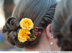 "Wedding hairstyle with red berries and yellow roses from ""Melissa and Brian's Bountiful Wedding Bash"""