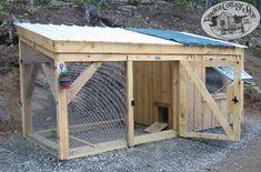 The enclosed area provides the chickens with a place to bed down, while the open area allows them fresh air and contact with their natural surroundings. This coop was constructed without a floor to allow the chickens to access the natural ground.