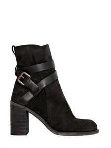 SEE BY CHLOE' - 90MM LEATHER ANKLE BOOTS - LUISAVIAROMA - LUXURY SHOPPING WORLDWIDE SHIPPING - FLORENCE