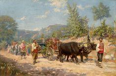 "Антон Митов /1862 -1930/ - ""Връщане от гроздобер"" --- Anton Mitov / 1862 -1930/-- Return from vintage"