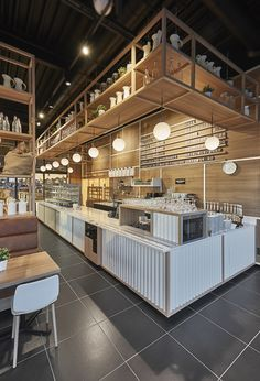 A Peek Inside Yummi Coffee Bar in Belgium - Foodielovin' - Coffee Ideas Bakery Design, Cafe Design, Restaurant Interior Design, Shop Interior Design, Cafe Bar, Bar Counter Design, Coffee Bar Design, Cafe Counter, Café Restaurant